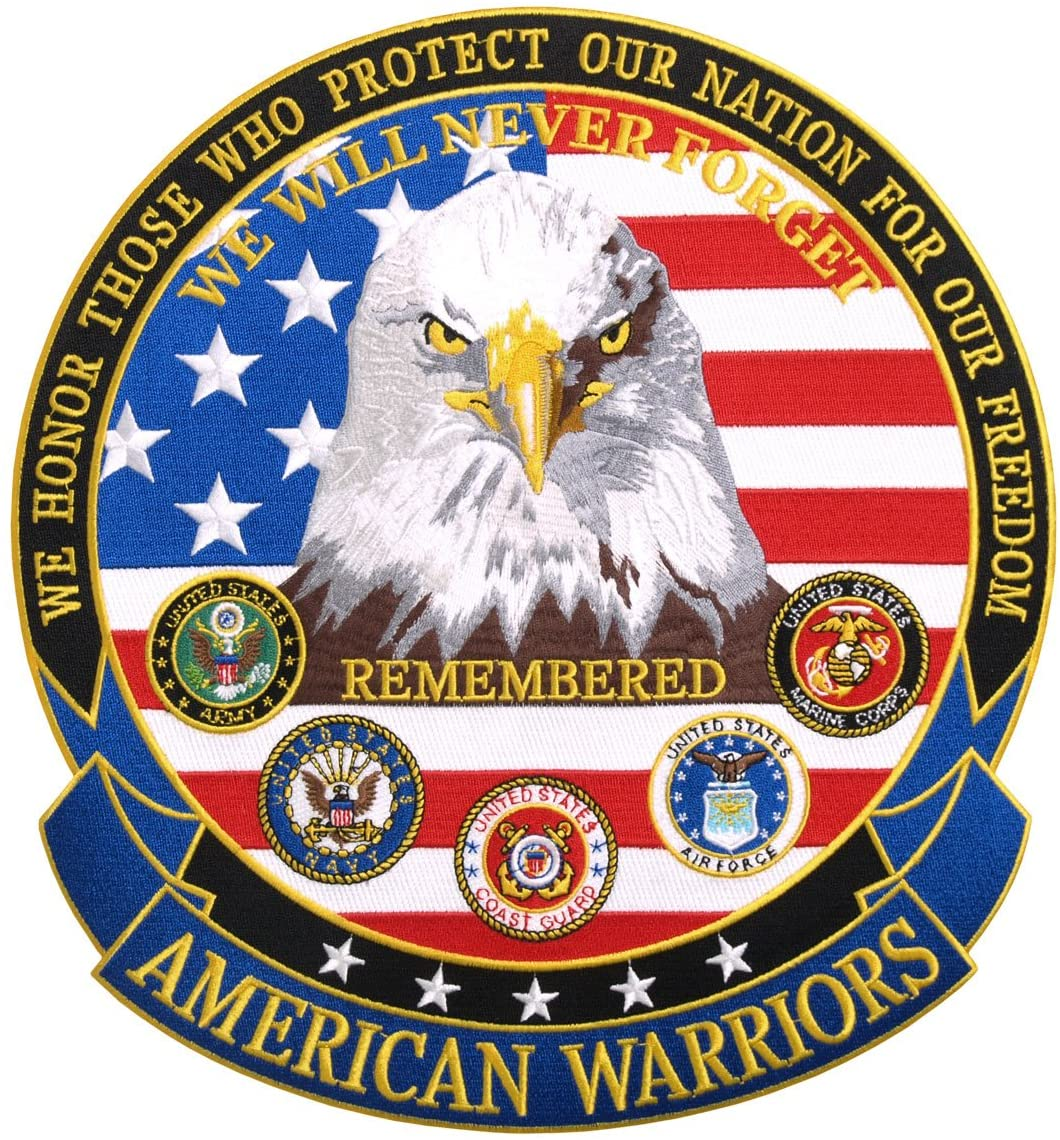 WE HONOR AMERICAN WARRIORS, High Thread Embroidered Iron-On / Saw-On Rayon PATCH - 5 x 5