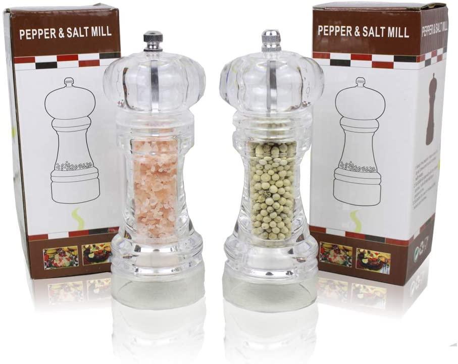 6 Inch Tall Acrylic Oak Salt and Pepper Grinder Set 2Pack,Adjustable Coarseness,Refillable Mill Shaker For Sea Salt, Black Peppercorn