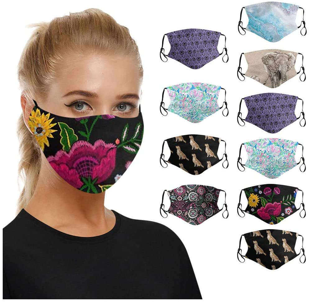 Jamiacy 10PC Fashion Face_Mask for Adult, Cute Funny Animal Print, Adjustable Ear Hook Nose Bridge Design, Reusable Face_Masks for Women Men