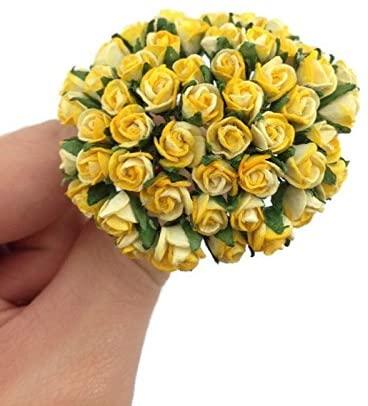 1 Bundle of 50pc Yellow Artificial Flowers Paper Rose Flower Wedding Card Embellishment Scrapbook Craft -F002