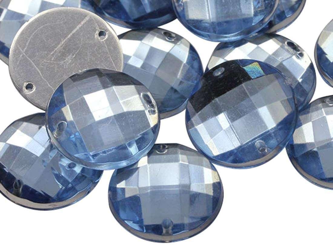 Allstarco 16mm Blue Sapphire - Lt. CH02 Flat Back Sew On Round Beads Acrylic Rhinestones Sewing Plastic Gems with Holes for Jewelry, Clothes, Garment Embelishments, Shoes, Cosplays, Crafts 40 Pieces
