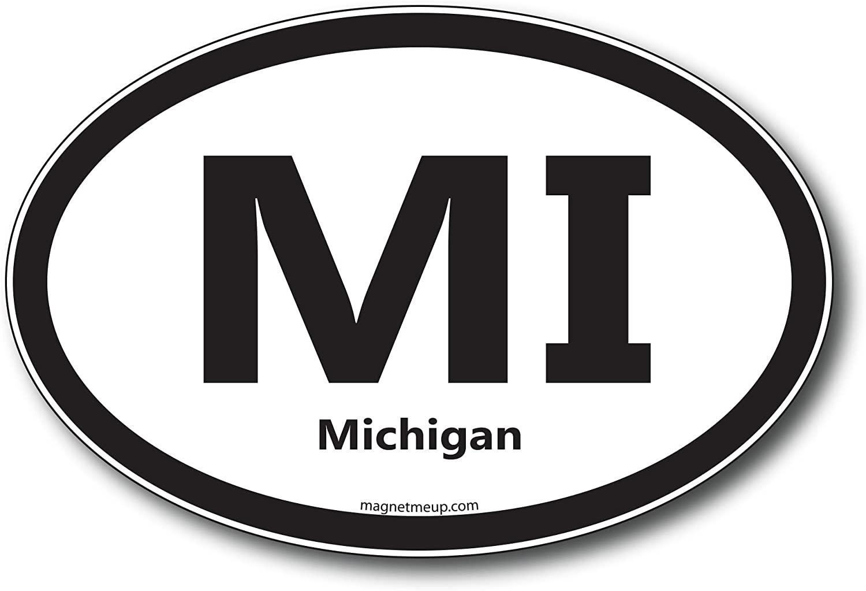 MI Michigan Car Magnet US State Oval Refrigerator Locker SUV Heavy Duty Waterproof…