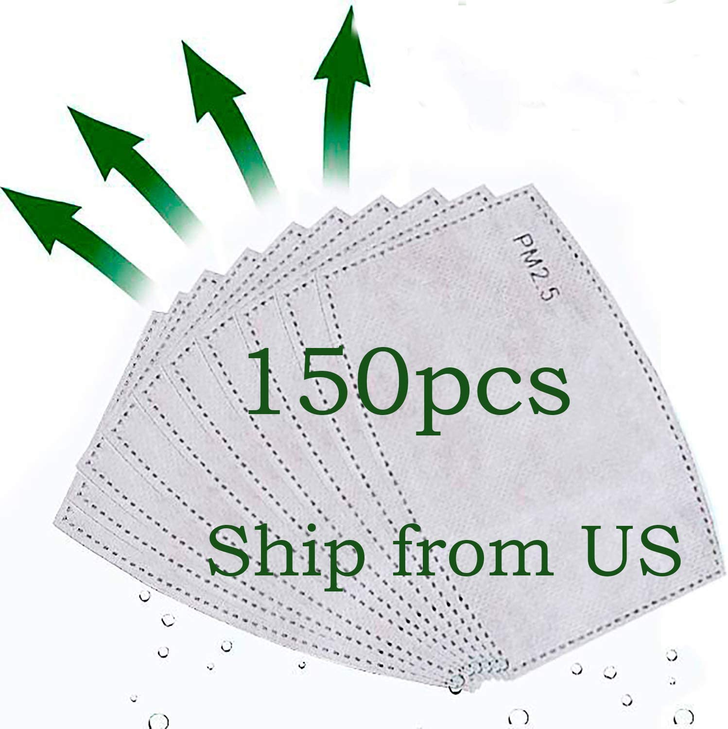Forno 50-300pcs Activated Carbon Filters Filter Replaceable Meltblown Cloth Filter for Adults Outdoor Activities, from The US (150PCS)