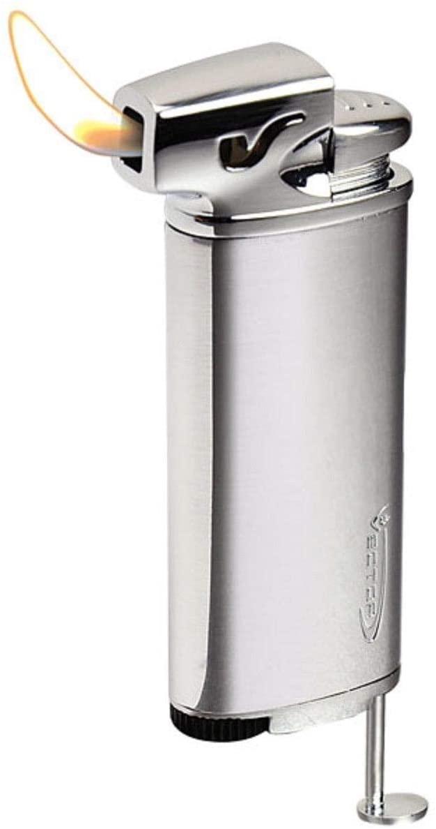 Vector Elio Angled Flame Pipe Lighter w/Built-in Tamper (Hi-Polish Chrome)