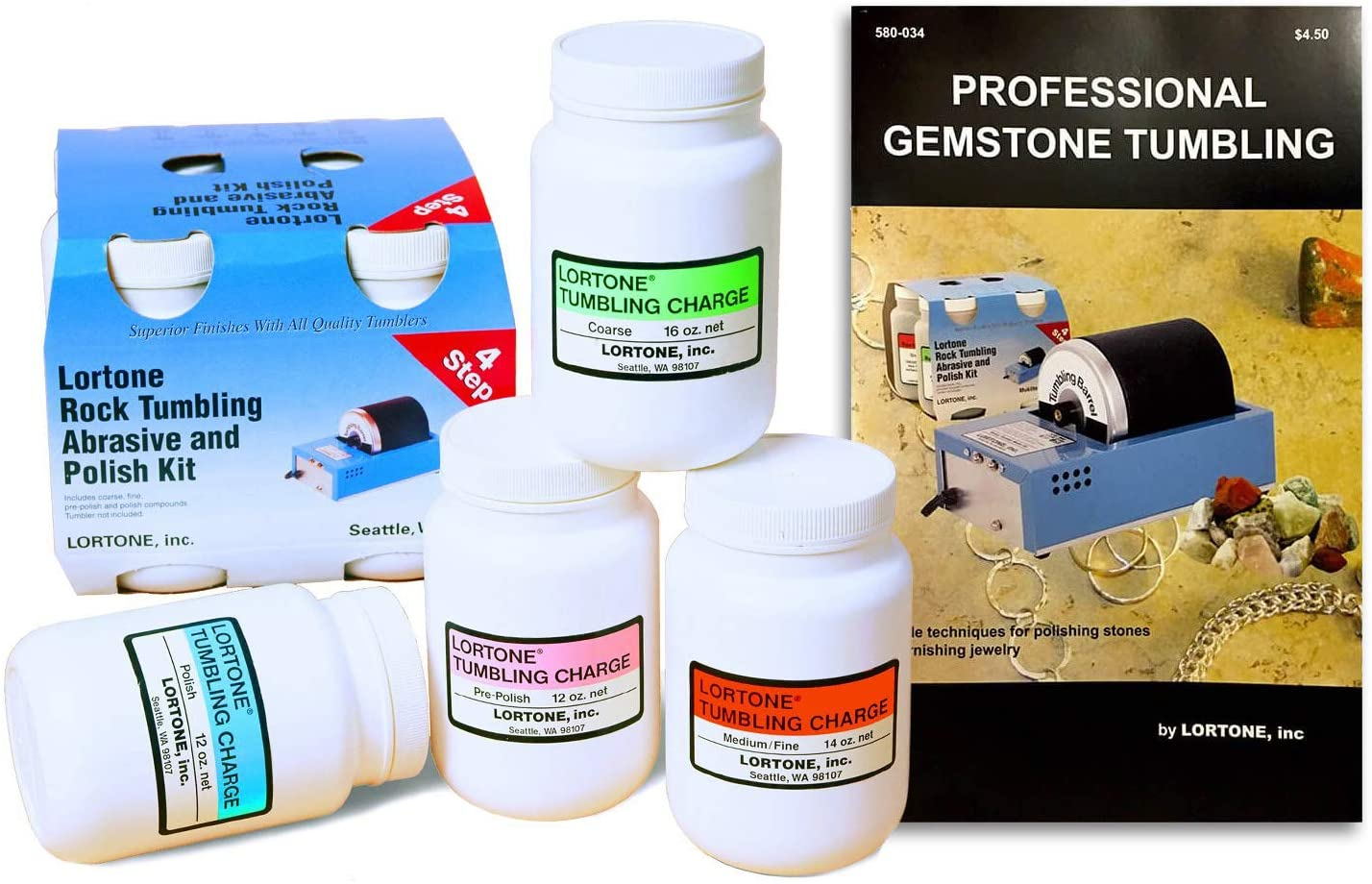 Lortone Rotary Rock Tumblers and Kits with Grits (Lortone Abrasive Grit Kit + Book)