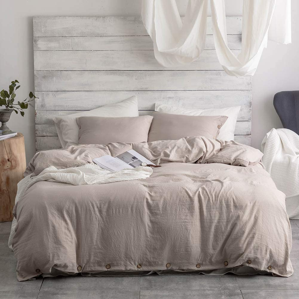 Argstar 2 Pcs 100% Microfiber Twin Size Duvet Cover with Buttons, Washed Cotton Effect, Khaki