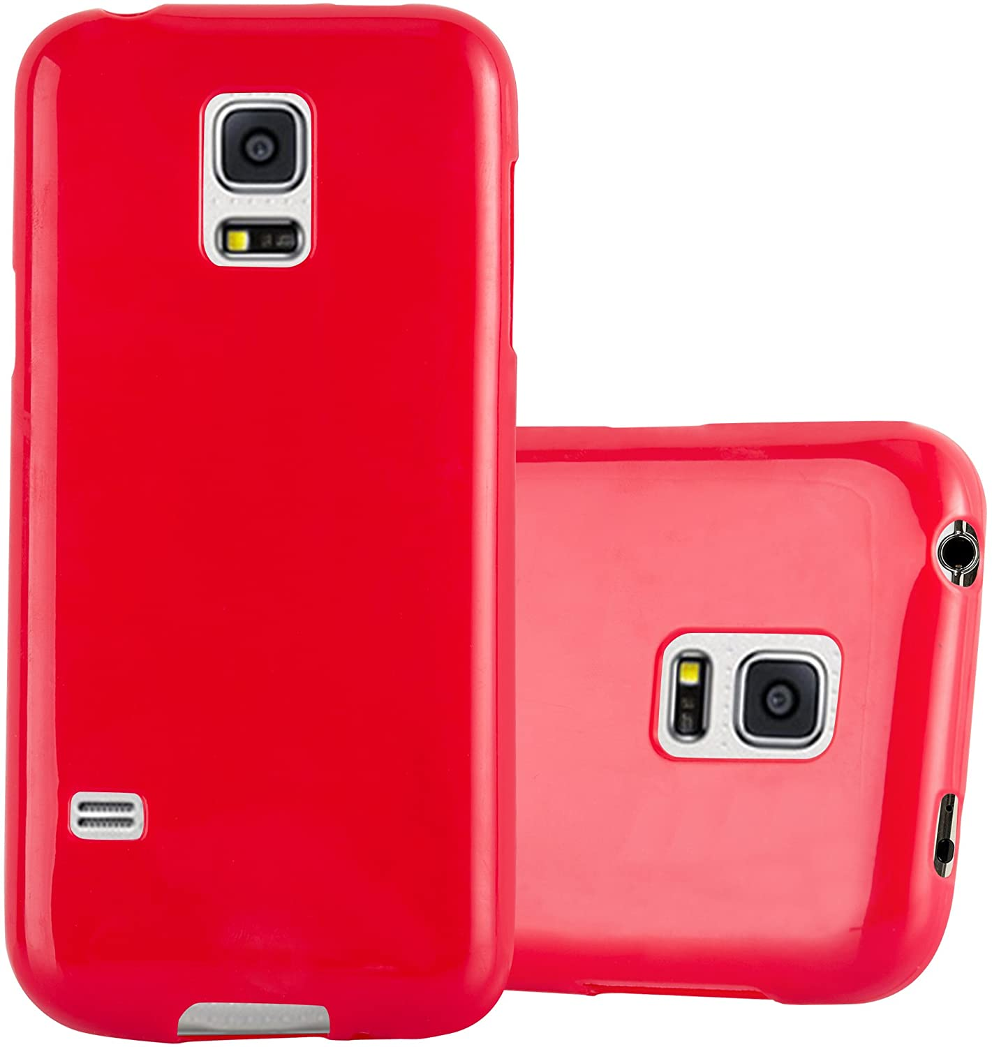 Cadorabo Case Works with Samsung Galaxy S5 Mini / S5 Mini DUOS in Jelly RED - Shockproof and Scratch Resistant TPU Silicone Cover - Ultra Slim Protective Gel Shell Bumper Back Skin