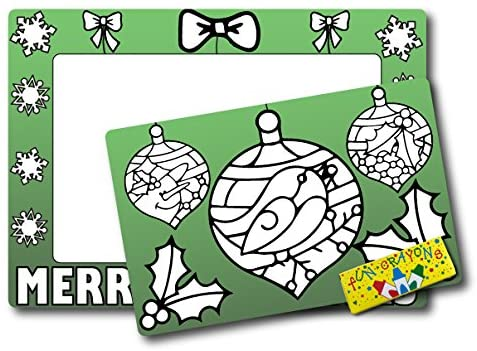 Color in Your Own Christmas Ornaments Picture Frame Magnet, DIY, Decorate a Holiday Magnetic Picture Frame - 5 x 7 Frame with a 3.5 x 5.5 Cut-Out Center Magnet - with Bonus 4 pk of Crayons