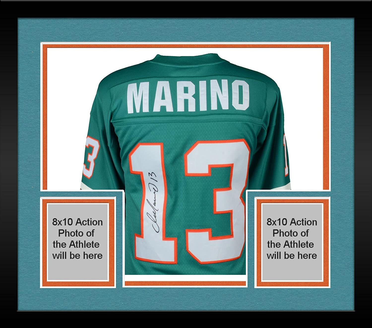 Framed Dan Marino Miami Dolphins Autographed Mitchell & Ness Teal Replica Jersey - Autographed NFL Jerseys