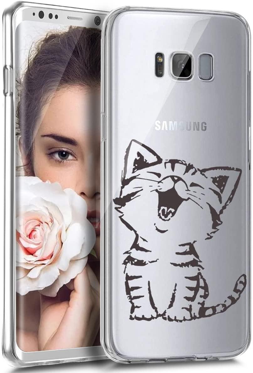 Galaxy S7 Edge Case, S7 Edge Clear Case, PHEZEN Cherry Blossom Flower Series Design Transparent TPU Bumper Soft Silicone Rubber Skin Back Case Cover for Samsung Galaxy S7 Edge (Cute Cat)