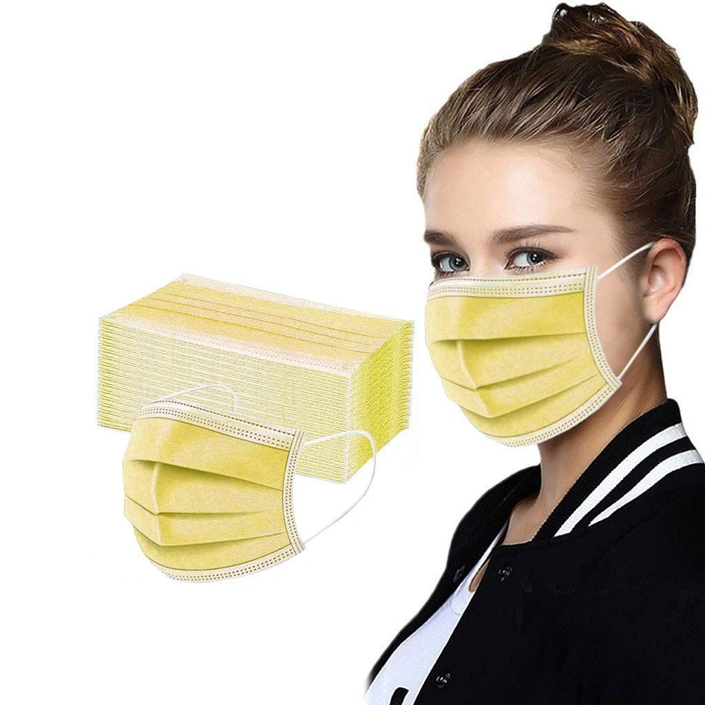 [USA Fast DELIVERY]Adults Face_Mask - 50PCS - Dis_posable - 3-Ply Elastic Ear Loop, Breathable and Dust Proof, Muti-Color for Men Women