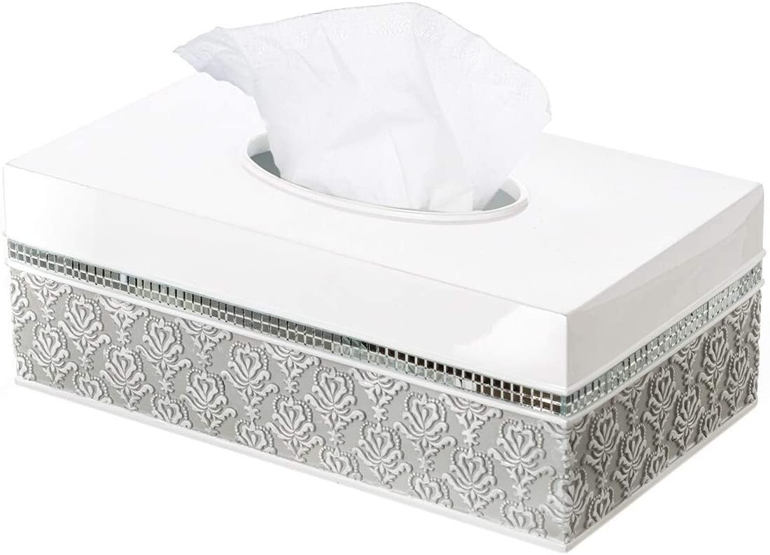 Mirror Damask Rectangle Tissue Box Cover Bottom Slider (Gray White) Vintage Resin