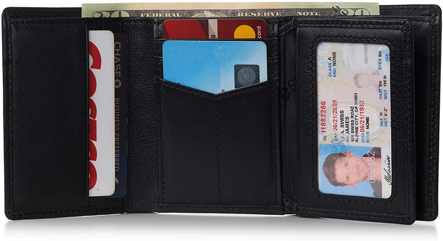 Alpine Swiss RFID Mens Theo OVERSIZED Trifold Wallet Deluxe Capacity With Divided Bill Section Camden Collection Comes in a Gift Box