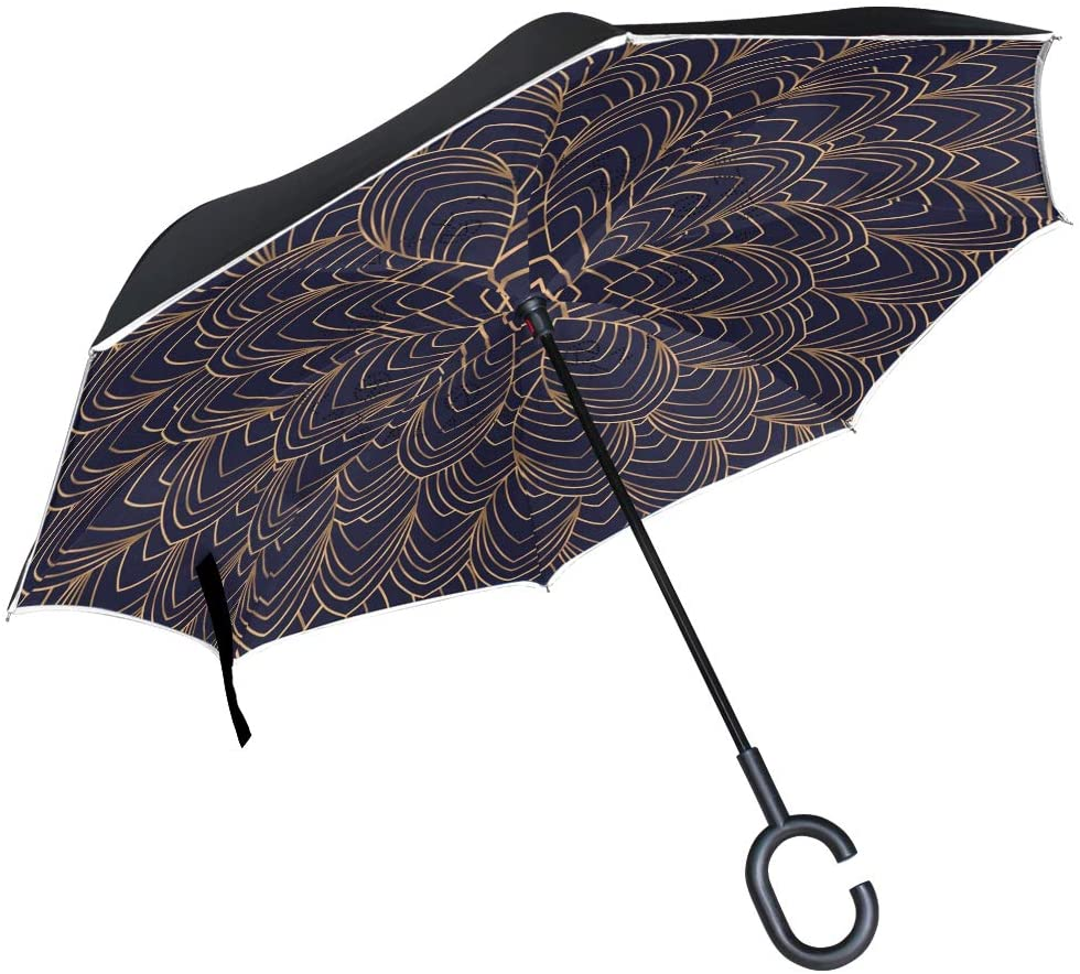 senya Windproof Double Layer Folding Inverted Umbrella, Golden Floral Pattern Self Stand Upside-Down Reverse Umbrellas with C-Shaped Handle
