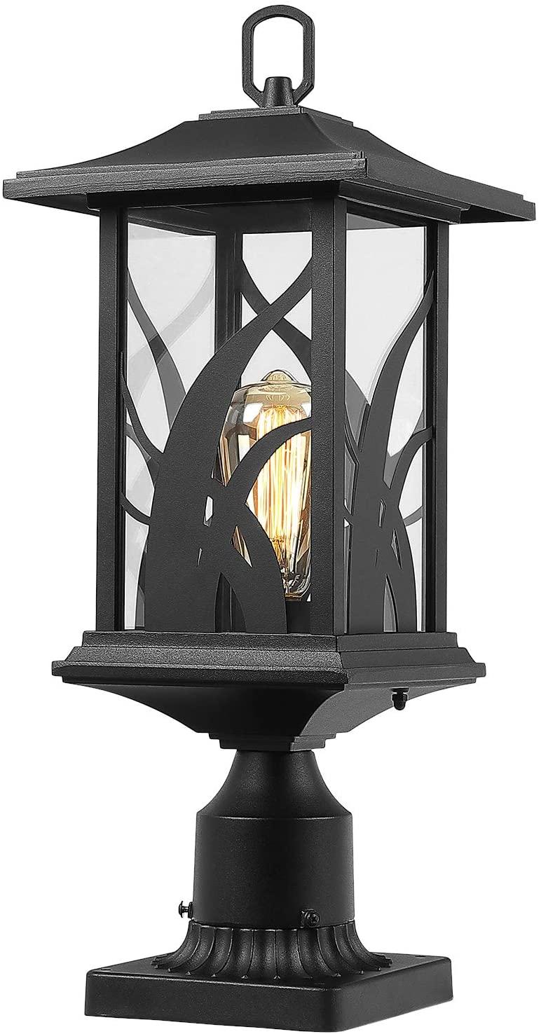 Beionxii Outdoor Post Lights | Exterior Pillar Lantern Pier Mount Lights with 3-Inch Base, Sand Textured Black Cast Aluminum with Clear Glass