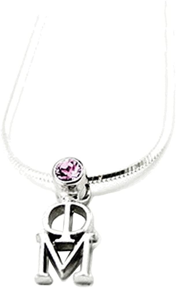 Greekgear Phi Mu Sterling Silver Lavaliere with Swarovski Rose Crystal