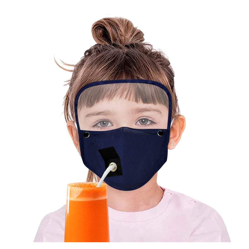 Pollyhb Childrens Drinking Face Màsc with Straw Hole, Ear-Hooks Adjustable Detachable Eyes Goggles Protector, Kids Reusable Cloth Mouth Guard (Blue)