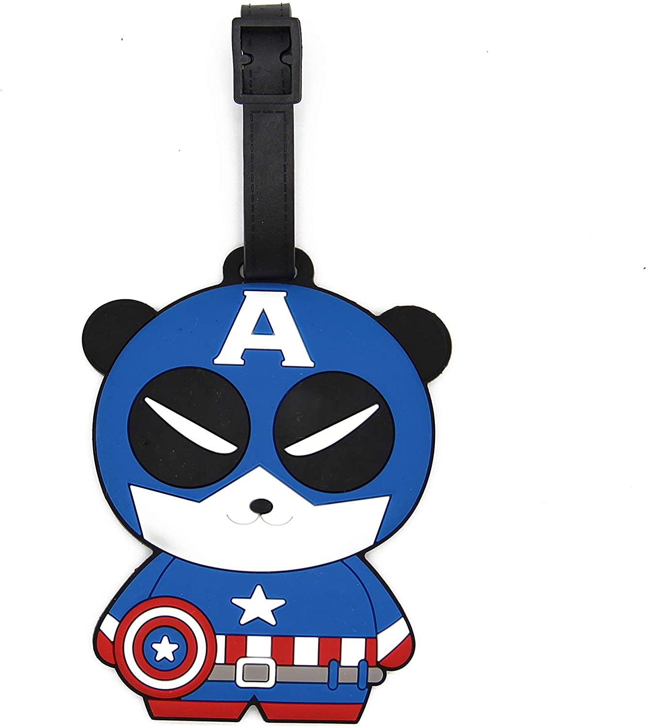 CellDesigns Cartoon Luggage Tag Suitcase ID Tag with Adjustable Strap (Panda Captain America)