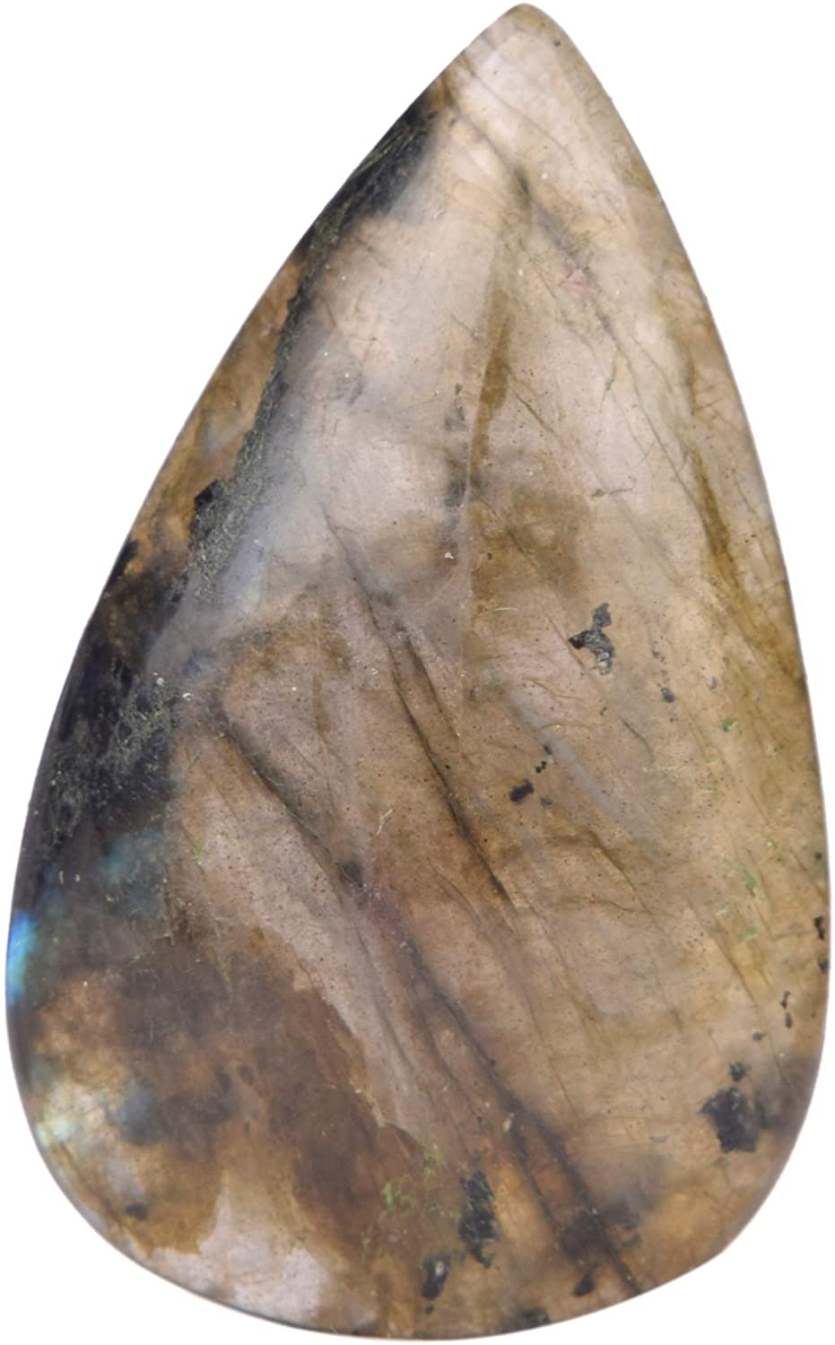 Real Gems Cabochon Natural Labradorite Stone, Blue Flash Pear Shape Cabochon for Jewelry Making 52.50 Ct Loose Gemstone