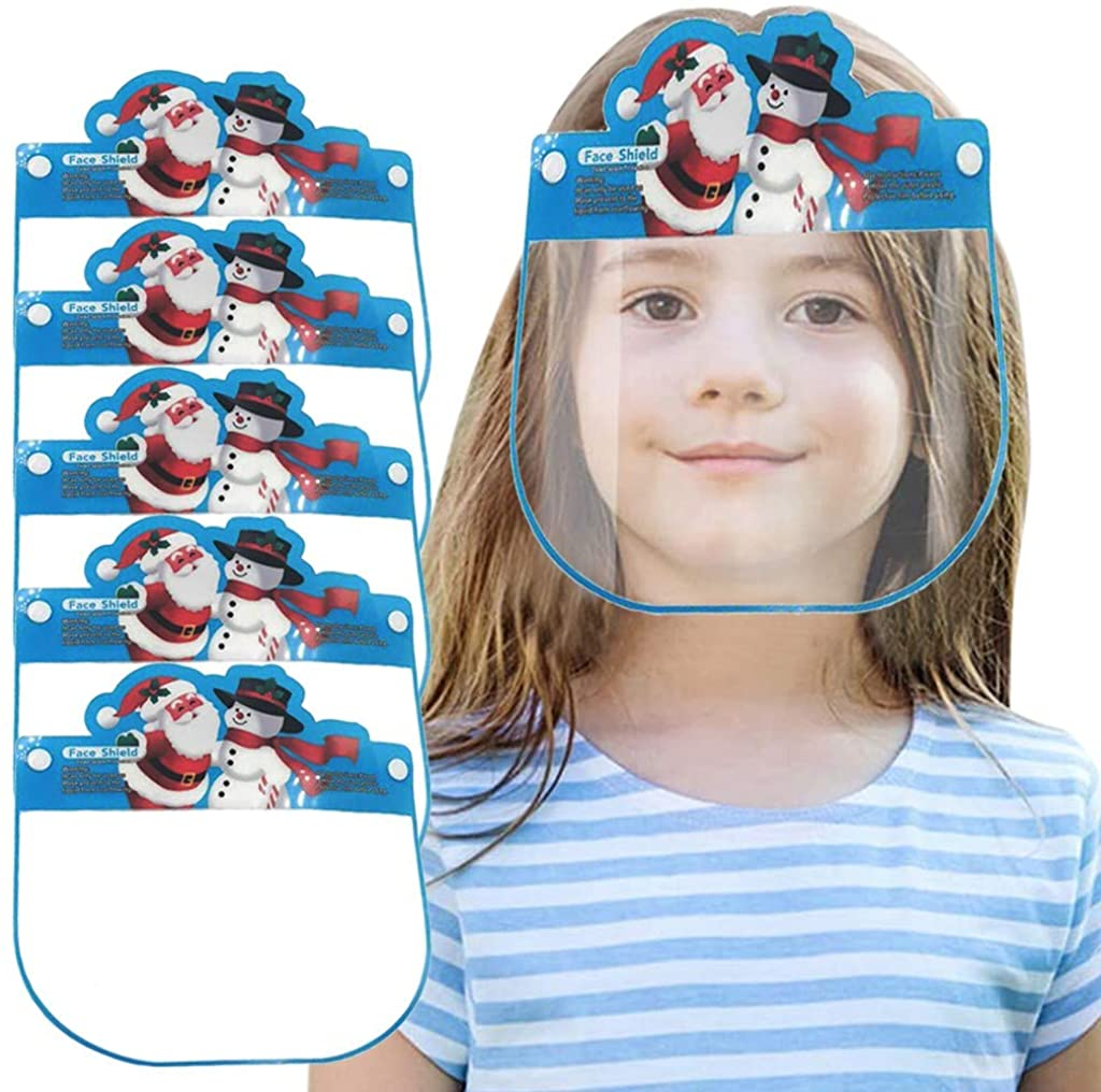 5PCS Kids Face Shields Reusable,Veki Children Anti-Fog Face Guard Protective Clear Lens,Safety Shields with Elastic Band