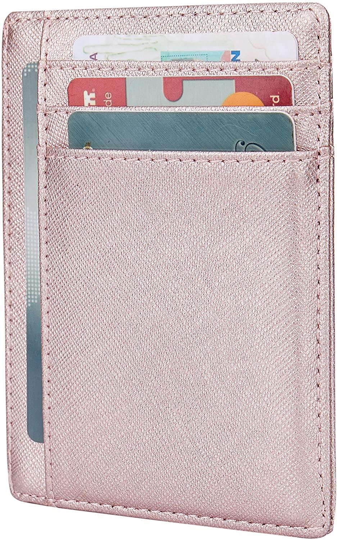 Small RFID Blocking Minimalist Slim Credit Card Holder Pocket Wallets for Men Women
