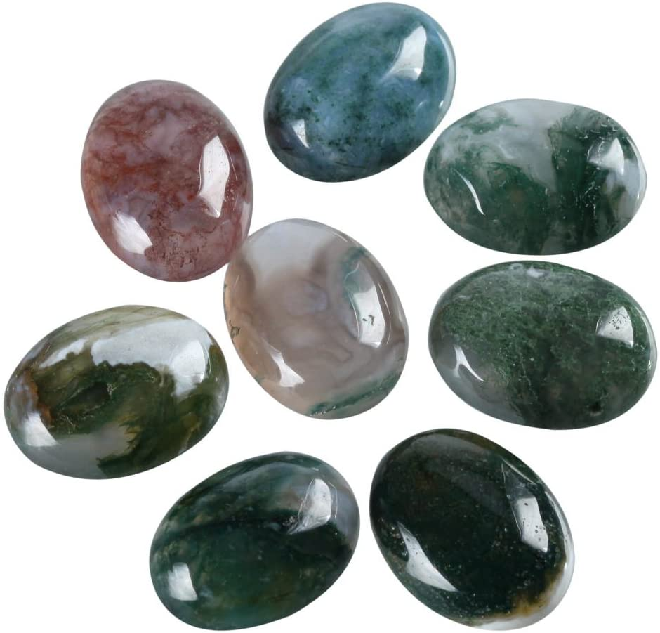 8pcs Natural Moss Agate Oval Cabochon Flatback Gemstone Cabochons 18x13mm GO22