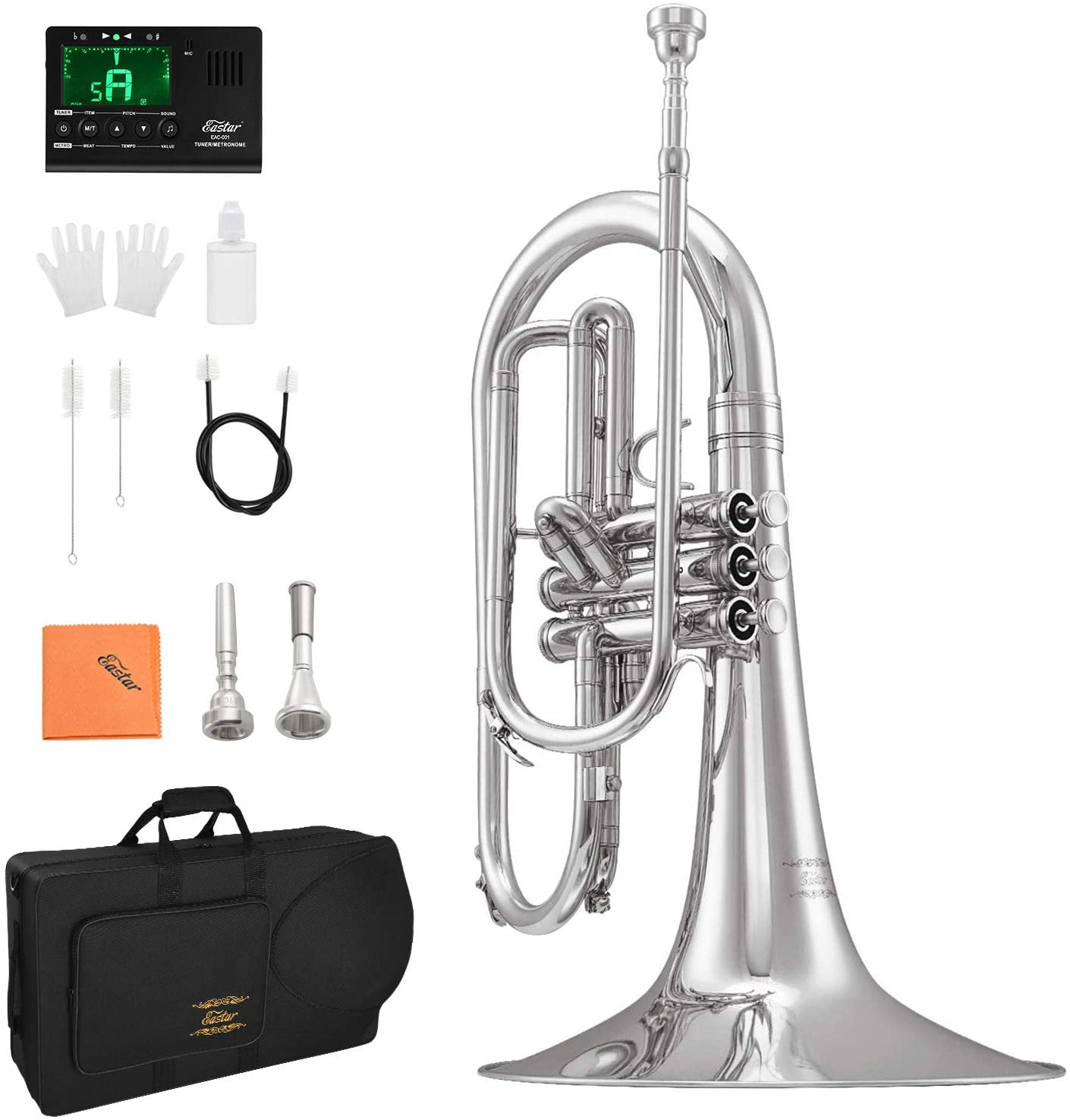 Eastar Mellophone Student Standard Marching Mellophone Key of F Nickel Plated with Hard Case Mouthpiece Gloves Oil Tuner Cleaning Kit, EMLP-380