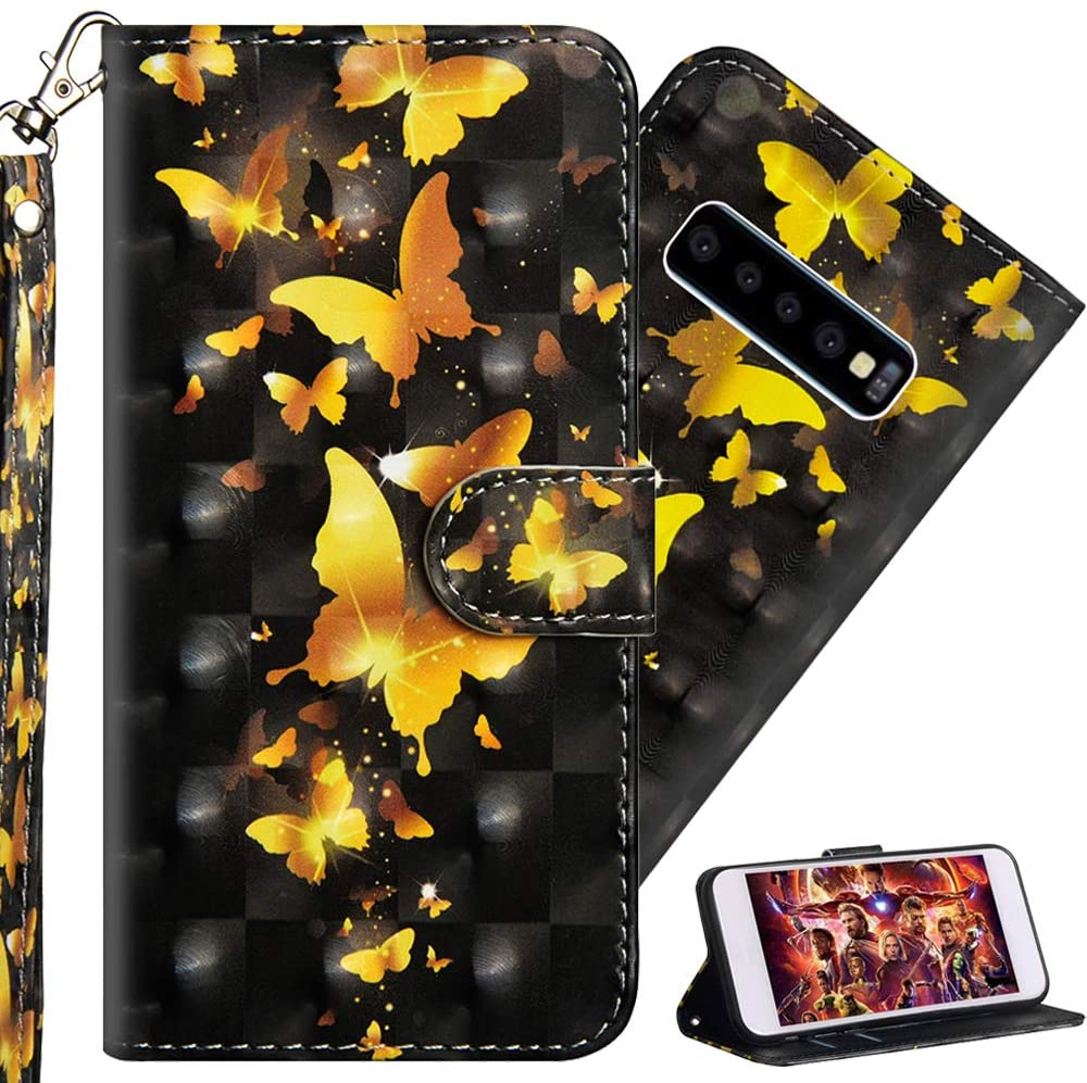ISADENSER Samsung Galaxy S10 Plus Case Stylish Girly Women [Wallet Stand] Kickstand Credit Cards Slot Cash Pockets PU Leather Flip Wallet Case for Samsung Galaxy S10 Plus 3D Gold Butterflies YX