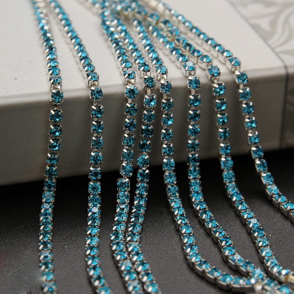 USIX 10 Yards Crystal Rhinestone Close Chain Trimming Claw Chain Multi Size Color Rhinestone Chain for DIY Arts Craft Sewing Jewelry Making, Aqua-Silver Chain, SS6/2.0MM