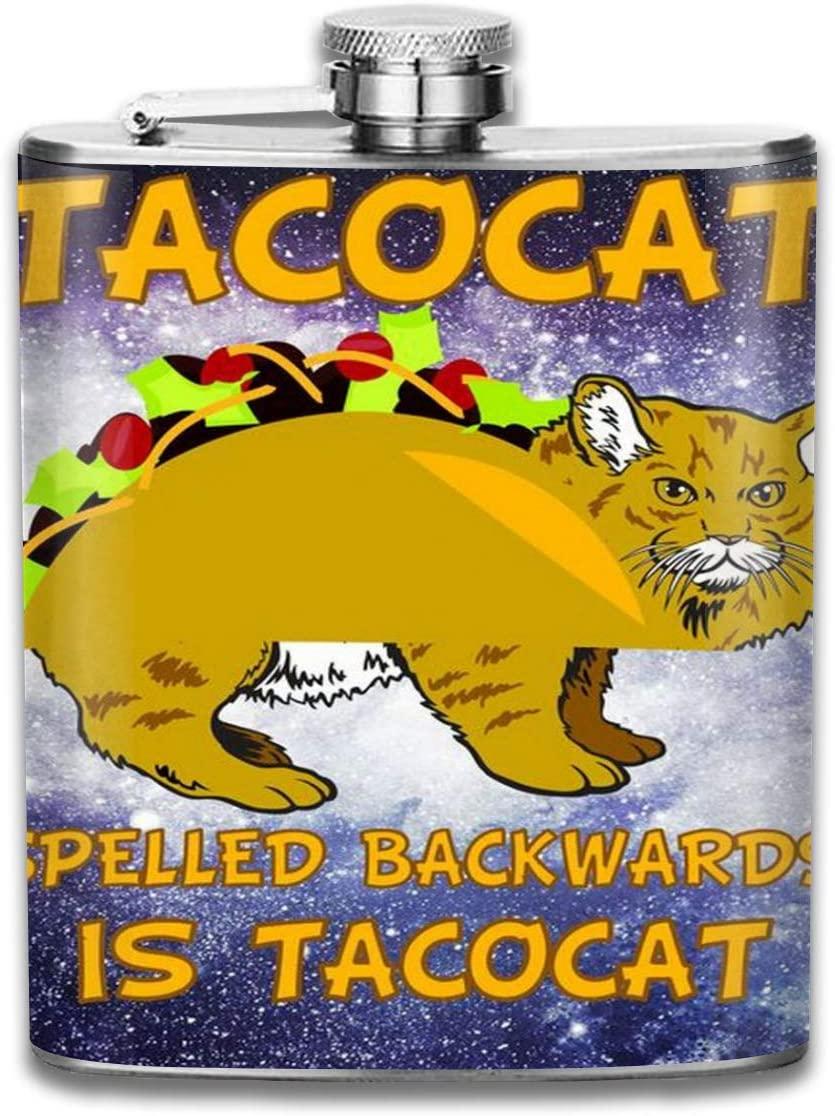 Flagon 2 Pcs Hip Flask for Liquor U-Shaped Tacocat Spelled Backwards Funny Cat 304 Stainless Steel Leak-Proof Alcohol Whiskey Liquor Wine 7oz Pot Hip