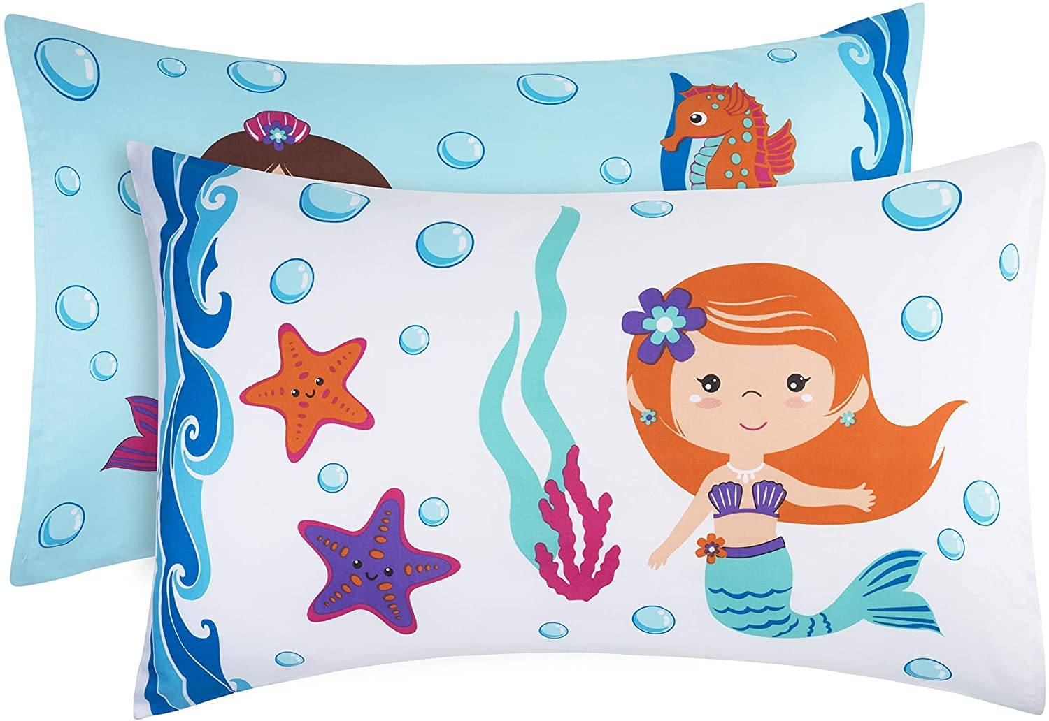 EVERYDAY KIDS Mermaid 2 Pack Pillowcase Set - Soft Microfiber, Breathable and Hypoallergenic Pillowcase Set