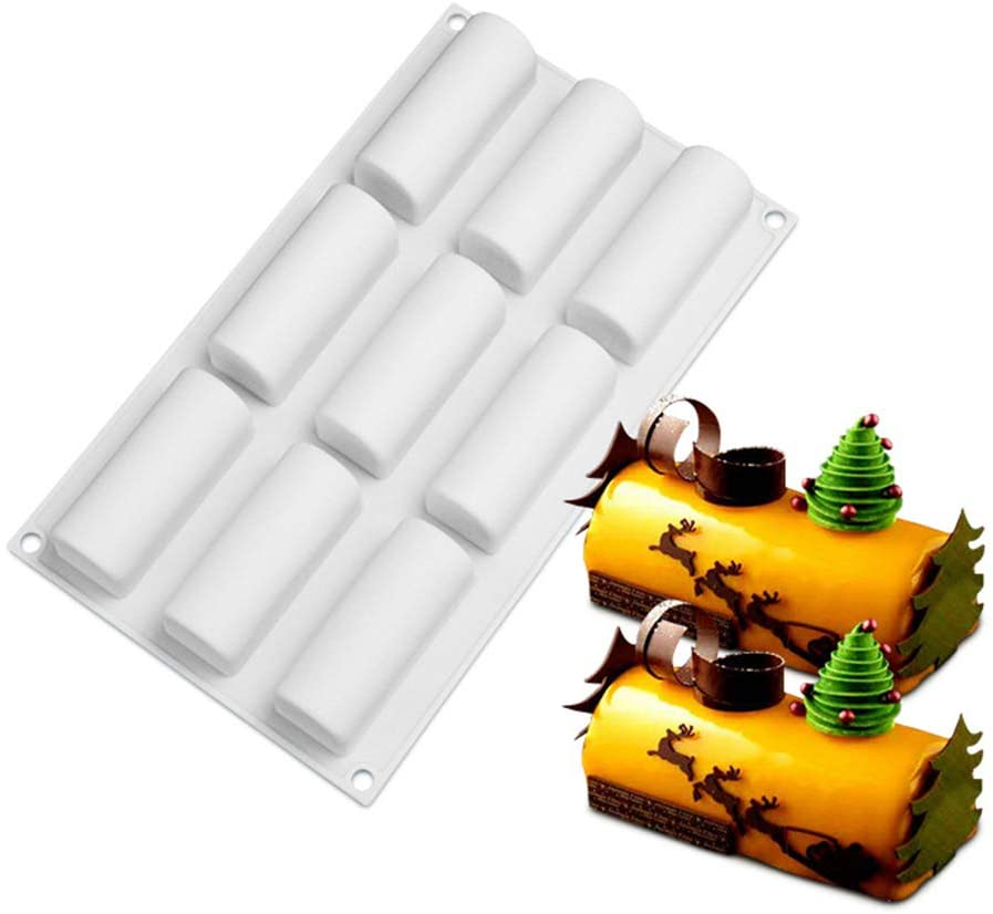 Silicone Mousse Cake Mold, Joyeee 3D Cylindre Cake Mold Trays/Pastry Desserts Mould, Food Grade, for Halloween Christmas Cake Dessert Mousse Chocolate Chiffon Truffle Cheesecake Ice cream Brownie