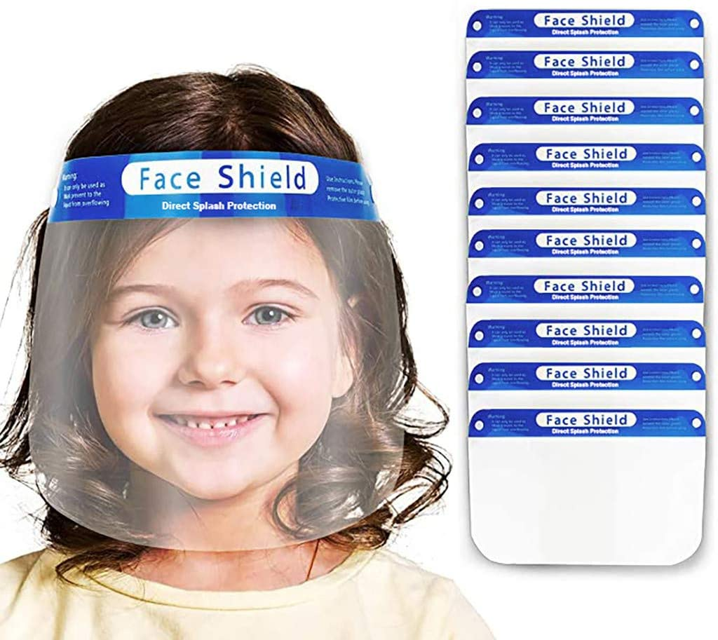 Kids Protective Face Shield, Safety Full Face Clear Visor Face protect, Protect Eyes and Face, Facial-Covering for Children Outdoor School Headwear (10PC, Blue-a)