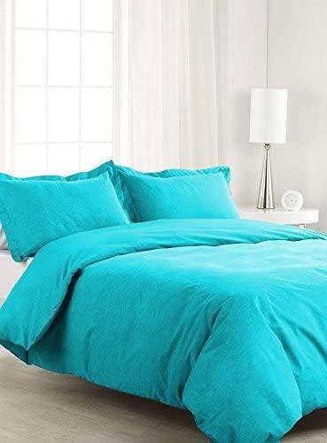 VGI Linen Italian Luxury Zipper Closure 5-Piece Duvet Cover Set (1 Duvet Cover, 4 Pillow Shams) Ultra Soft Egyptian Cotton, 550-Thread Count Solid Pattern - Turquoise Color (Queen Size)