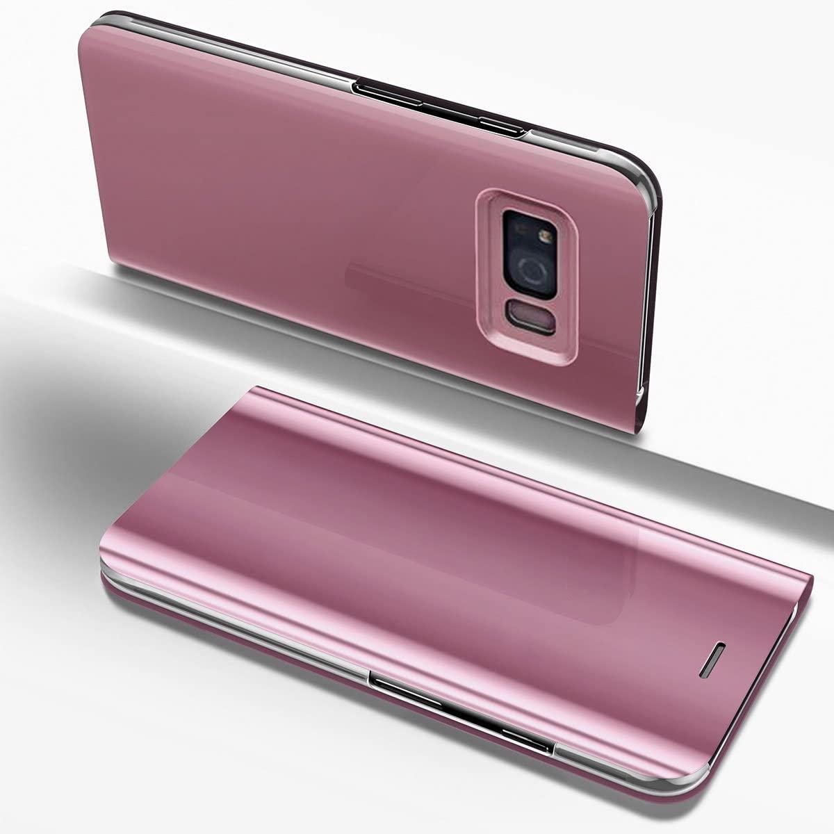 Galaxy S8 Plus Case,PHEZEN Luxury Mirror Makeup Case Plating PU Leather Flip Folio Wallet Case [Kickstand] Magnetic Closure Full Cover Case for Samsung Galaxy S8 Plus (Rose Gold)