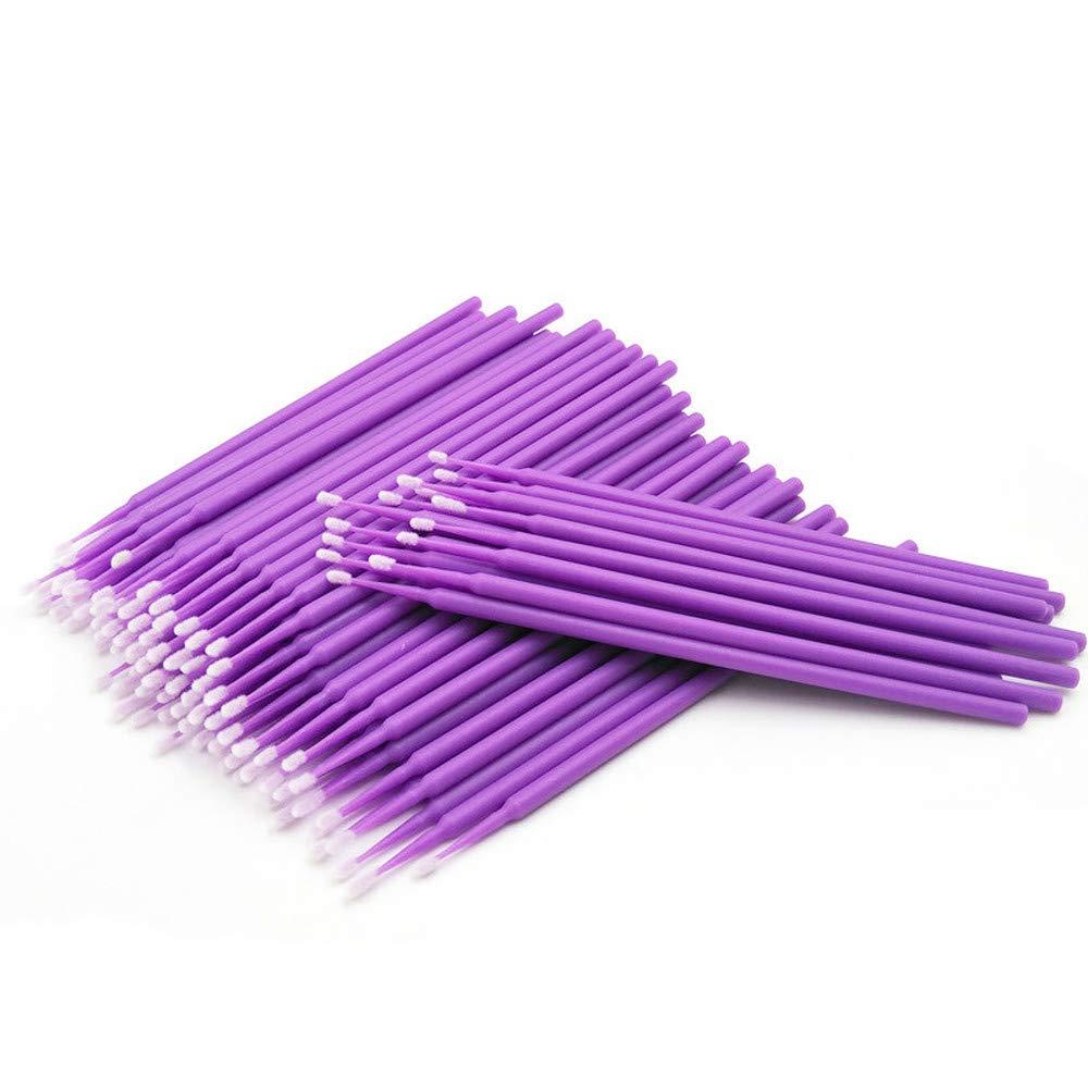 100pcs Disposable Eyelash Extension Tools Individual lashes Applicators Mascara Brush Lash Extensions Cotton Swab (Purple)