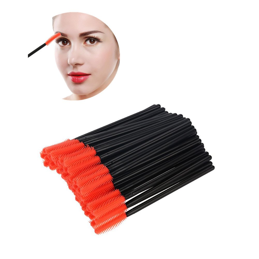 Silicone Eyelash Brush, 50Pcs Disposable Eyelashes Comb Mascara Wands Applicator Eyelash Extension Makeup Beauty Tool(Half-moon Tip)