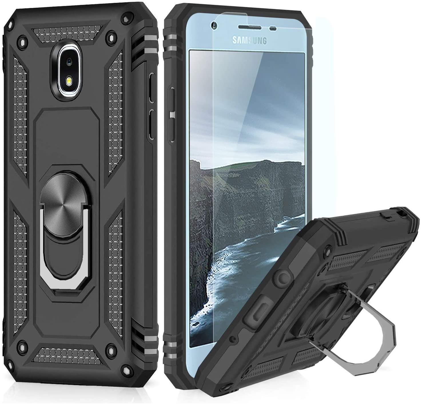 TJS Phone Case Galaxy J3 2018/J3 V 2018/Express Prime 3/J3 Star/J3 Orbit/J3 Achieve/J3 Prime 2/Sol 3, with [Tempered Glass Screen Protector][Defender][Metal Ring][Magnetic Support] Armor Cover (Black)
