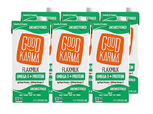 Good Karma Plant-Powered Flaxmilk, Unsweetened, 32 oz. Carton (Pack of 6) Dairy-Free, Plant Based Milk Alternative