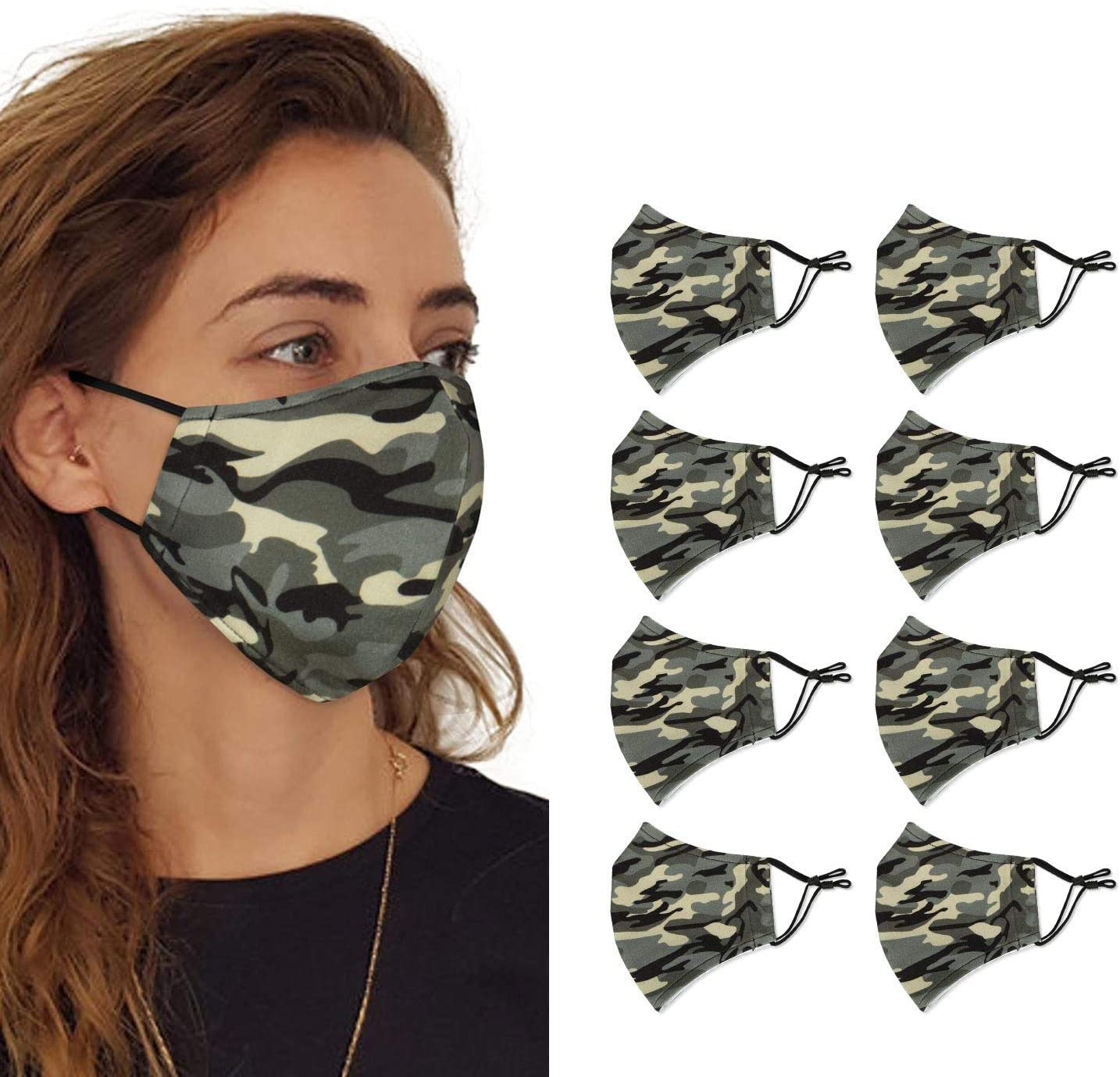 Reusable Washable Cloth Protection Fashion Fabric Face Mask,2 Layer Cotton Face Mask Adjustable Elastic Ear Loops,Unisex Adult Mask with Filter Pocket (Camo,8 Pack)