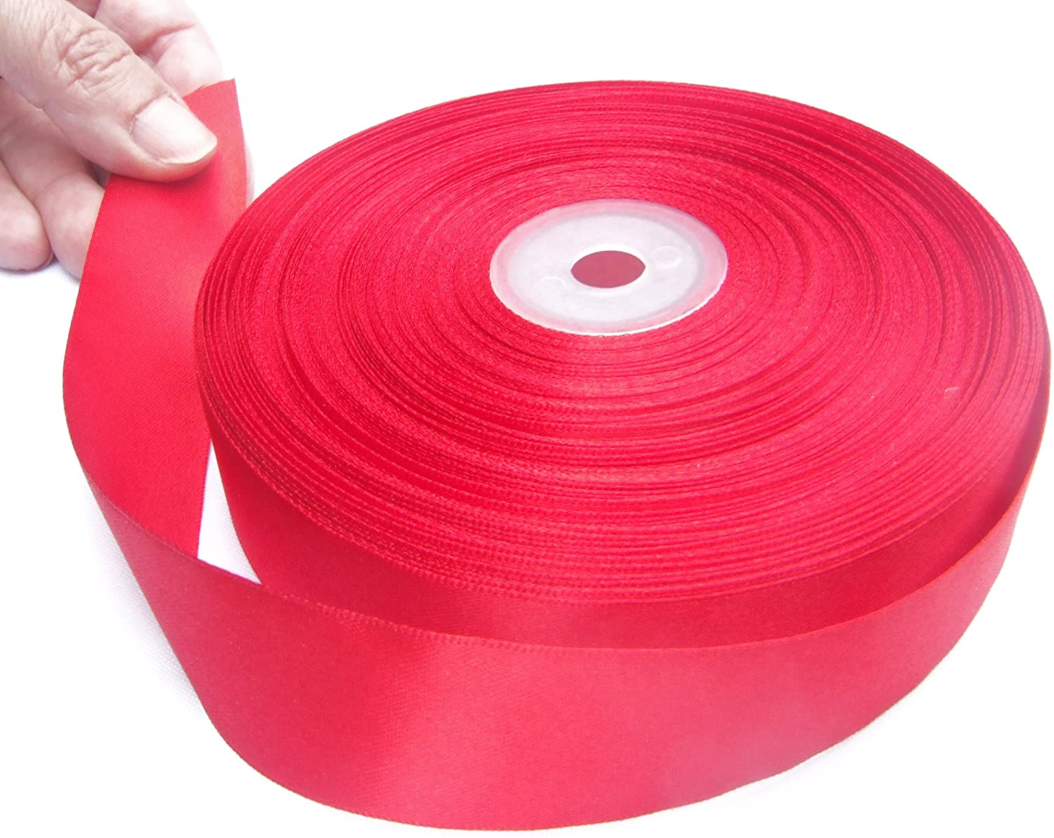 Red 1 Inch Satin Ribbon. 50 Yards Gift Wrapping Spool by Drency Ribbons