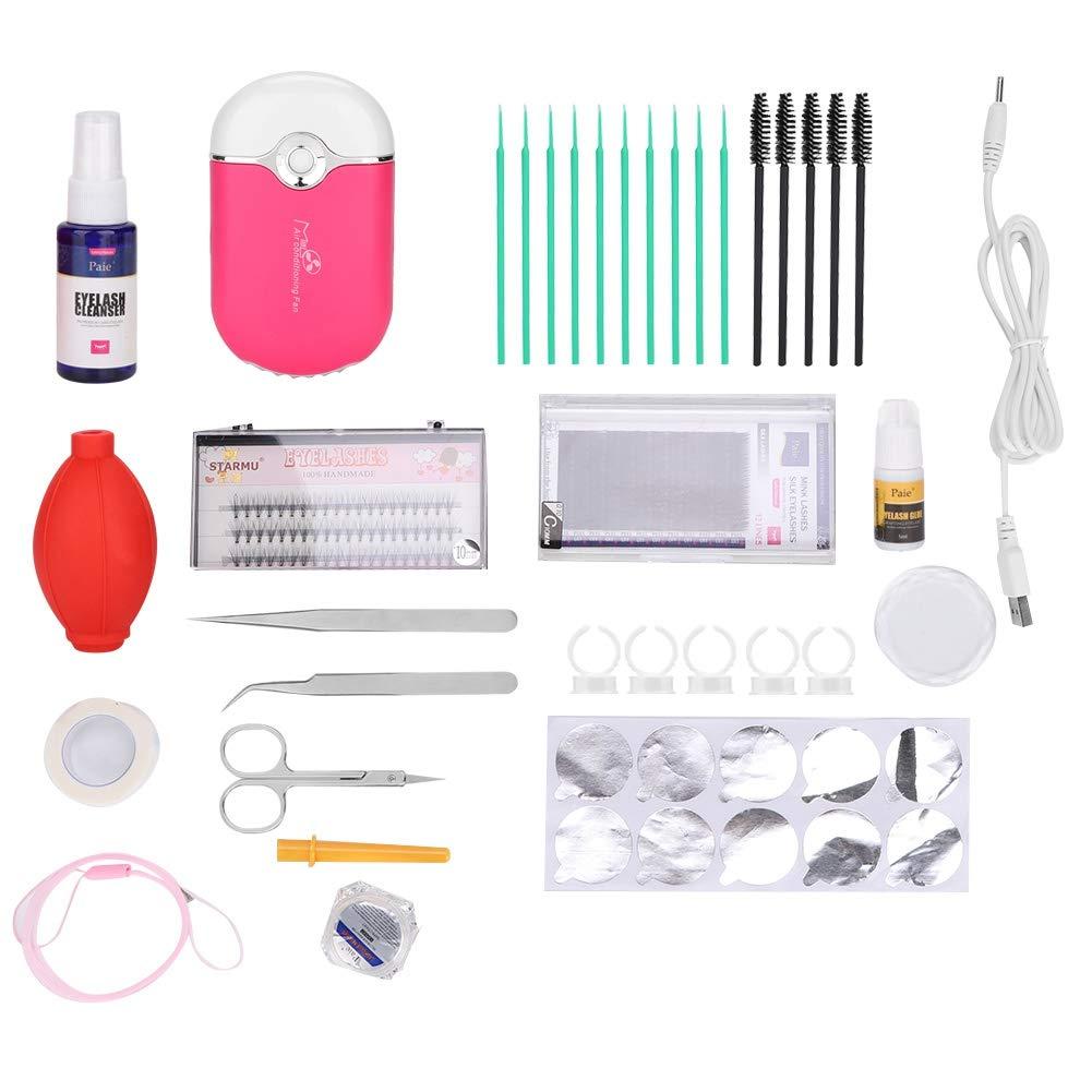 34 Pcs Eyelash Extension Tool Set, Individual Eyelash Extension Tool Kit with Tweezers Toothpicks Cotton Cups Graft Rings for Home and Beauty Salon, Eyelashes Grafting Supplies