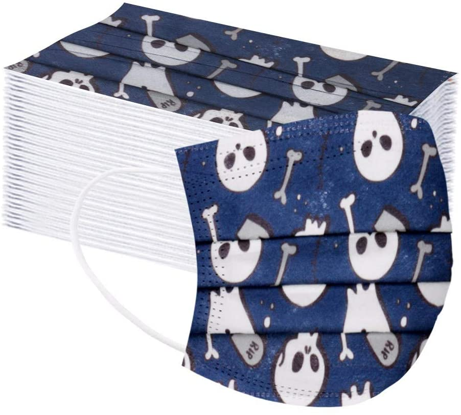 Kids Facemask 50pcs, Cute Halloween Pringting 9Ply Disposable Cover for Face Protection Breathable