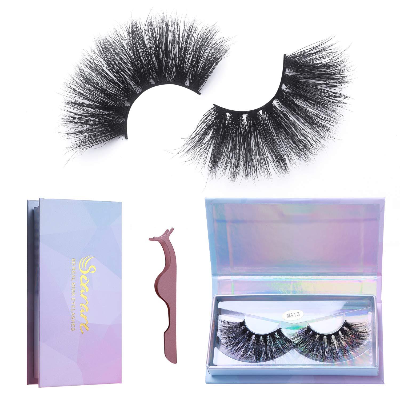 Soararc Mink Eyelashe 25mm, Fake eyelashes for Women, Fur Handmade Eyelashes, False lashes Natural look, Reusable Fluffy lash, 1 Pair MA13