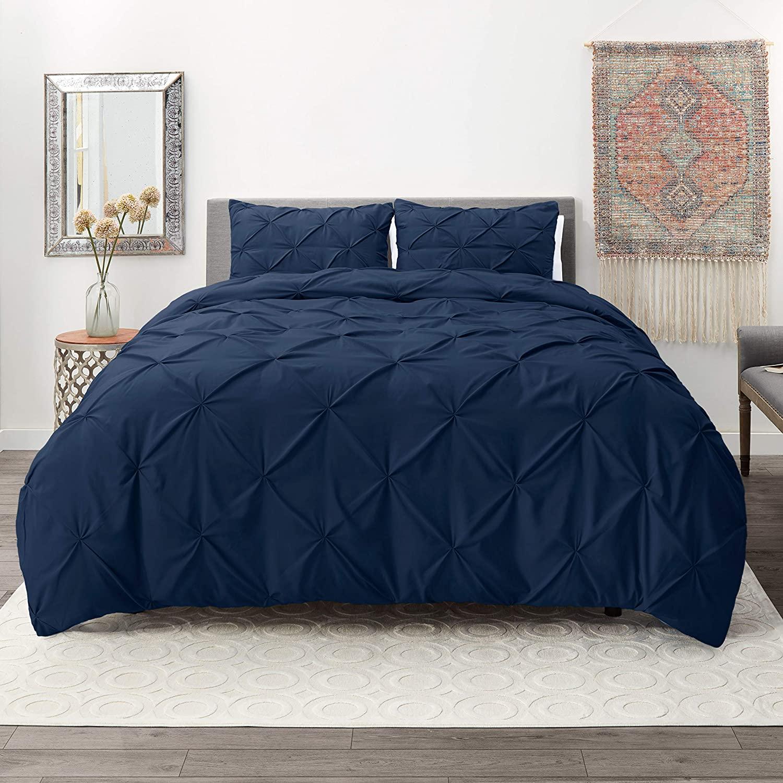Nestl Bedding 3 Piece Pinch Pleat Duvet Cover Set | Navy Duvet Cover with 2 Pillow Shams |Microfiber California King Duvet Cover Set