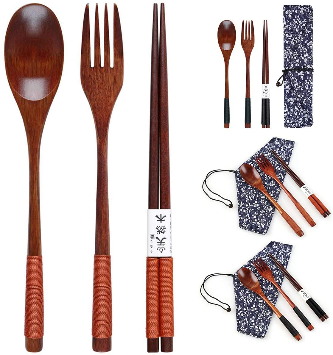 Fealay Wooden Cutlery Set Portable Eco Friendly Reusable Flatware Utensils Set Fork Spoon Chopsticks with Pouch for Camping Travel Office Lunch