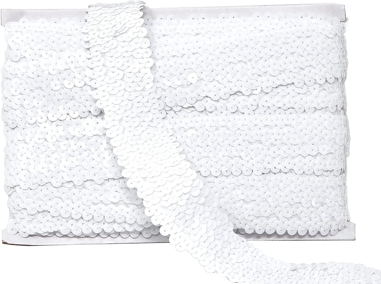 Mandala Crafts Elastic Sequin, Flat Glitter Stretch Bling Paillette Fabric Ribbon, Metallic Appliqué Trim Lace for Dress Embellish, Headband (1.5 Inches, White)