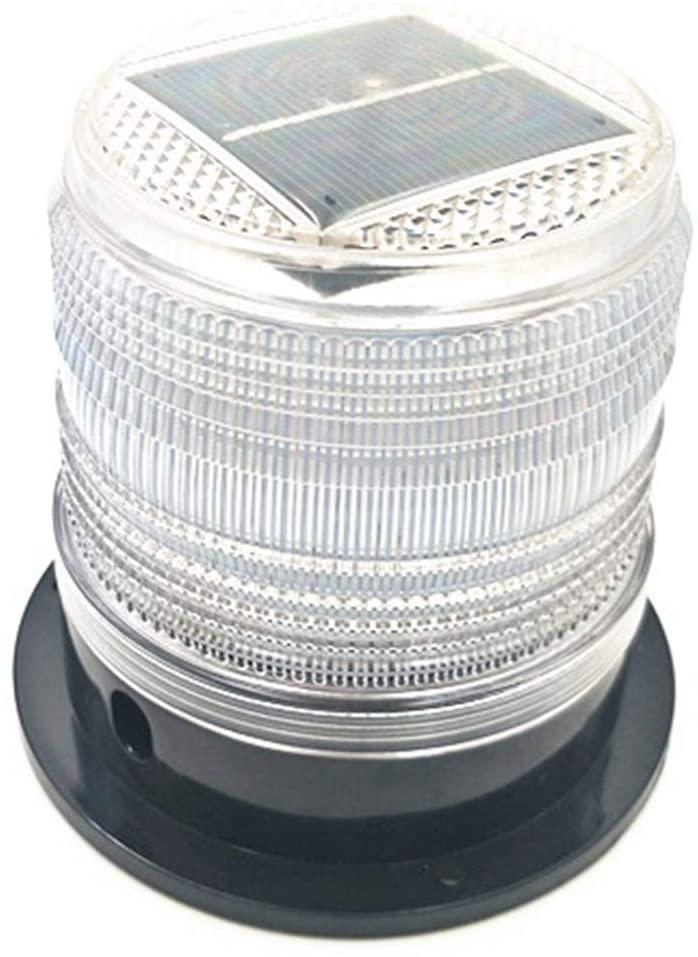 RISOON Solar Strobe Warning Light with Strong Magnetic Base Waterproof Flash Warning Light Ceiling Strobe Light Traffic and Road Beacon Light, Indicator Light, Ceiling Alarm Light (White)