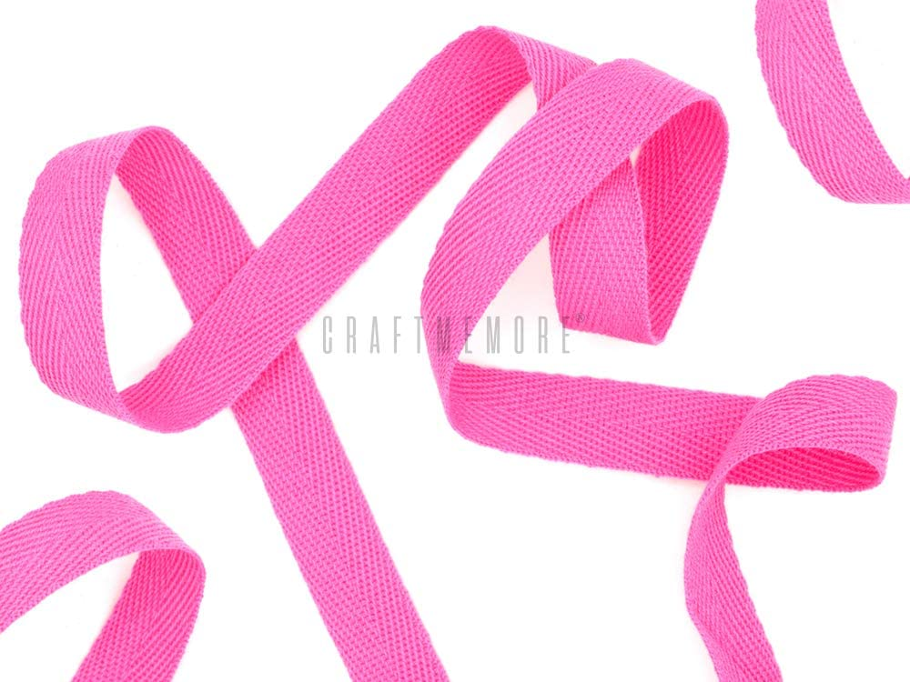 CRAFTMEMORE 1/2 Inch Twill Tape Fabric Ribbons Webbing Herringbone Twill Bias Binding Tape for Clothes Sewing Craft Trim Lace 36 Yards (MP5 Rose Pink)