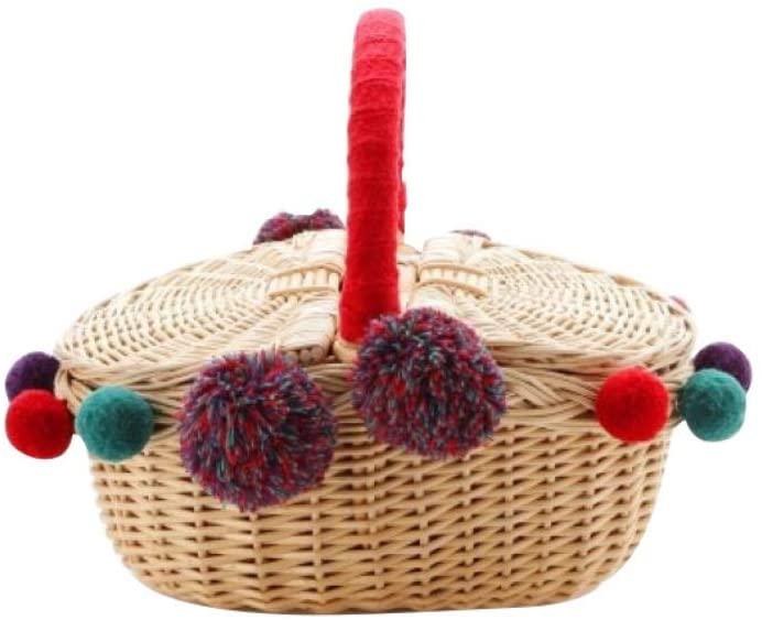 EFINNY Handmade Wicker Basket Colorful Pom Poms Camping Picnic Shopping Storage Basket Organizer Wicker Woven Picnic Basket Rattan Food Storage Container